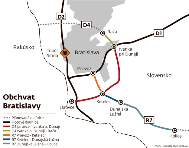 Grafická úprava obchvatu Bratislavy.