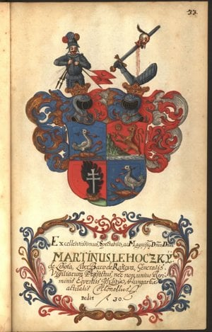Maľba erbu generála baróna Martina Lehotského z roku 1710. Klenot heraldicky vpravo zobrazuje rytiera v brnení, ktorý láme turecké zástavy, klenotom vľavo je obrnené rameno s mečom, na ktorom je napichnutá krvácajúca hlava Turka.
