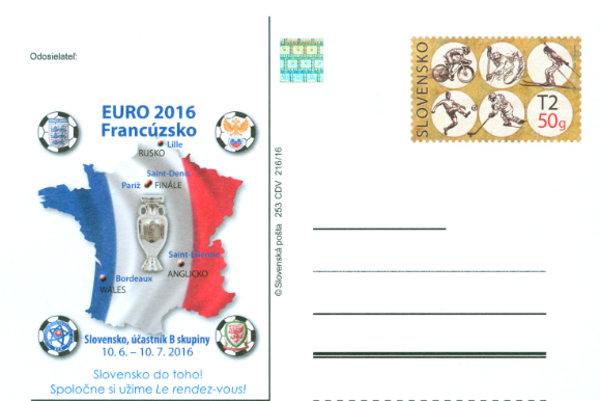 Poštový lístok s prítlačou EURO 2016 zobrazujúci miesta konania zápasov.