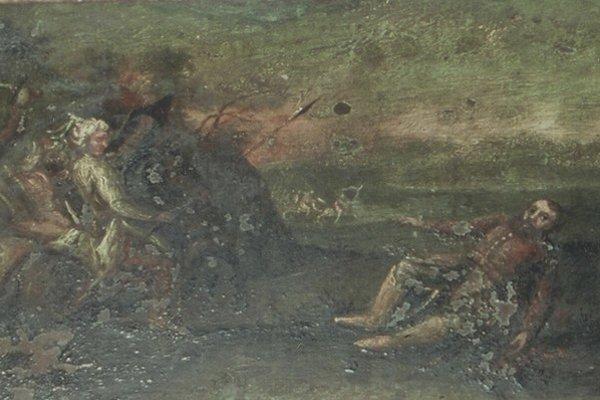 Časť maľby znázorňujúcej smrť Štefana I. Koháryho. Zasiahla ho guľka.