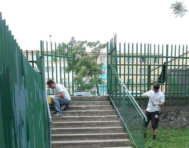 Pri košickej základnej škole dobrovoľníci natierali plot. Alebo mu to natreli?