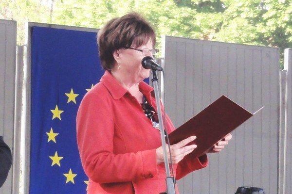 Primátorka v príhovore k Hurbanovčanom.
