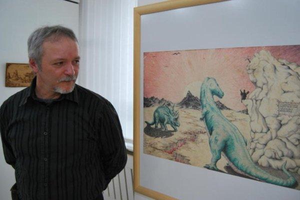 Na výstave diel Jána Machoviča snázvom Piate ročné obdobie nechýba ani dielo sdinosaurami.