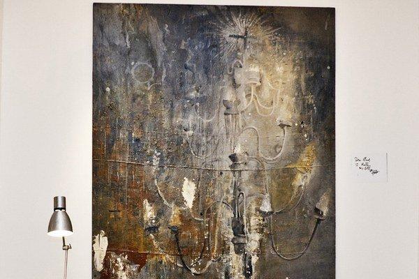 František Demeter. Pracuje s efektom viacnásobne premaľovaného obrazu.