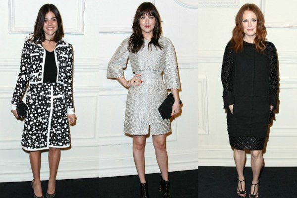 Zľava: Julia Restoin Roitfeld, Dakota Johnson, Julianne Moore