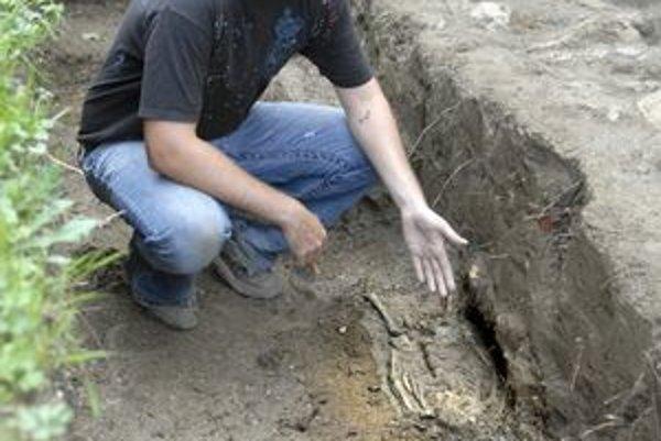 Objav. Ján Rákoš nám ukazuje, že pri kostole objavili aj pozostatky telíčka dieťaťa.