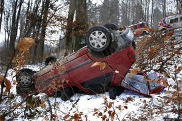 Vyleteli z cesty, auto zachytili stromy.