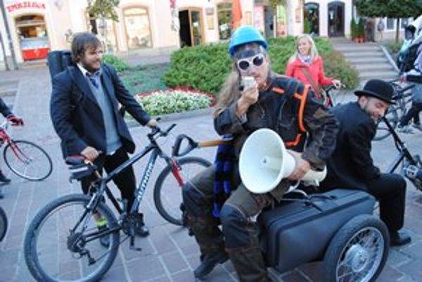 Braňo Jobus. Podporil cyklistov v Prešove.