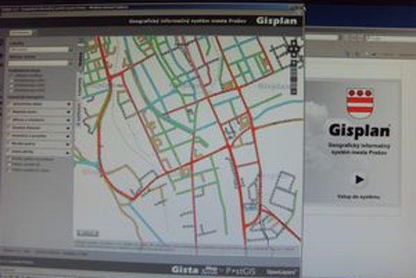 Gisplan. Z mapy sa dá zistiť množstvo informácií aj o cestách.