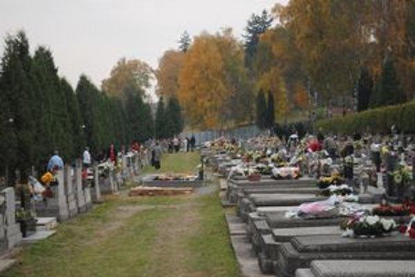 Prešovský hlavný cintorín. Stále je plný dušičkovej výzdoby.
