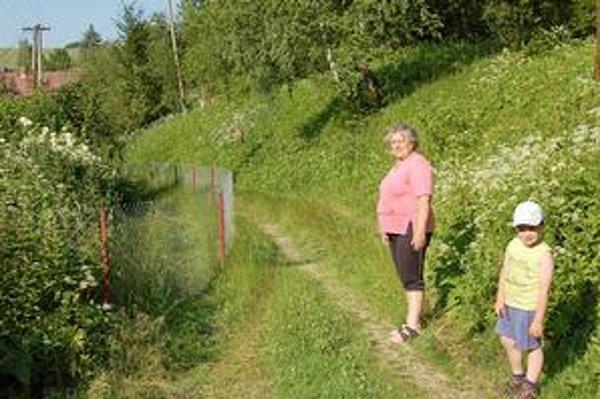 E. Labašková pri inkriminovanom plote. Zriadili ho susedia na pozemku, kde má ona právo prechodu a prejazdu. Podľa stavebníkov auto tadiaľ prejde.