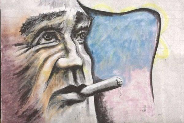 Graffiti umenie v bardejovských uliciach. Winstona Churchilla môžete vidieť na Nábrežnej ulici.