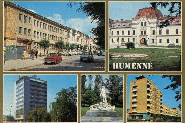 Pamätník v Tokajíku na humenskej pohľadnici (v strede dolu).
