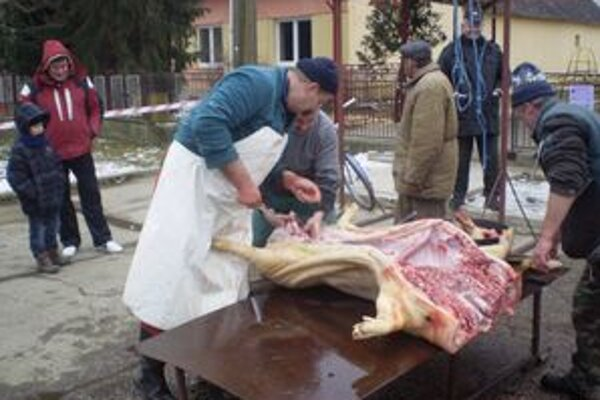 Fašiangová zabíjačka. V Bajanoch ju zorganizovali po prvýkrát. Mäsové špeciality mohol ochutnať každý.