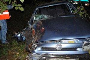 Felicia po zrážke s jelenicou a náraze do stromu bola zdemolovaná. Vodič mal len ľahké zranenia.