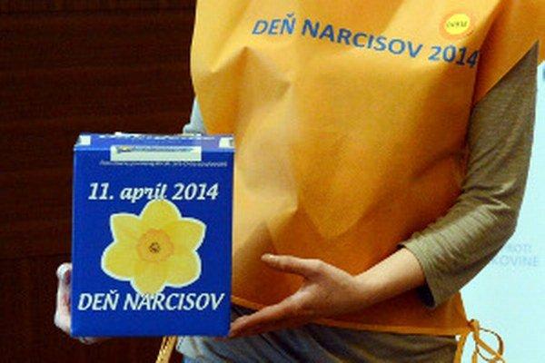 Dobrovoľníci Dňa narcisov majú oranžové vesty a modré pokladničky.