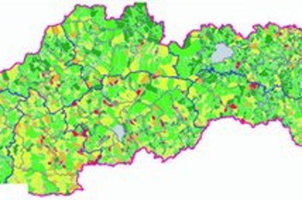 Mapa úmrtnosti na rakovinu. Červená farba predstavuje najviac ohrozené obce a mestá, zelená farba zase tie s najpriaznivejším stavom. Pri výpočtoch sa zohľadňoval počet obyvateľov.