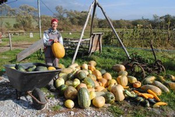 Bohatá úroda. Na snímke pomocník Denis, so zvážaním úrody sa poriadne zapotí.