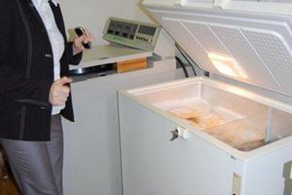 Chladničky. Š. Bevilaquová ukazuje súčasné chladiace zariadenia na hematológii. Nahradia ich nové, výkonnejšie.