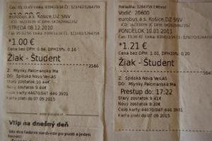 Cestovné doklady. Vľavo pôvodná cena lístka, vpravo po zvýšení. Jeho výška však nebola účtovaná správne.