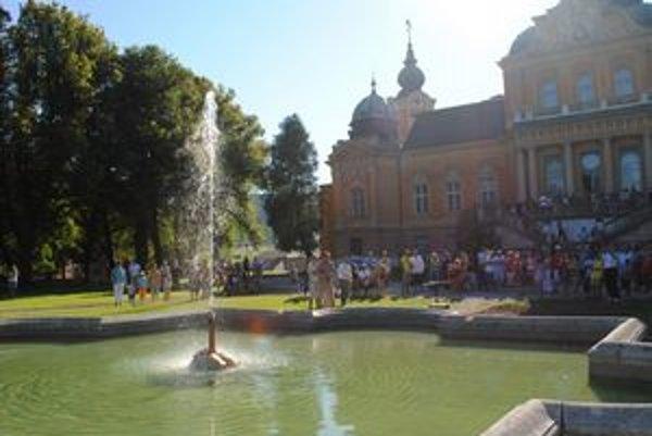 Obnovená fontána. Pri oprave obnovili inžinierske siete, upravili aj povrch fontány. Mladí nadšenci by radi v budúcnosti obnovili aj druhú menšiu fontánu v parku.