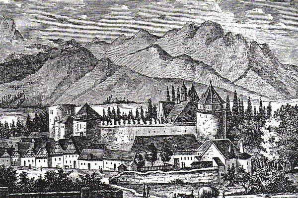 Kežmarský hrad. Takúto podobu mal v19. storočí.