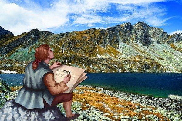 Ilustrácia kombinovaná sfotografiou zknihy Kežmarok aTatry. Maľby nakreslil Rastislav Le svietnamskými koreňmi.