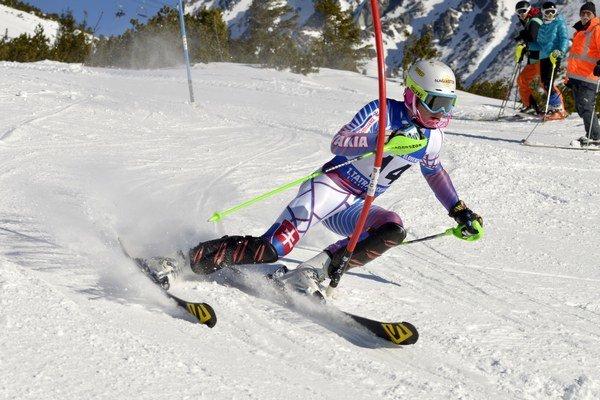 Adam Žampa na trati počas slalomu.