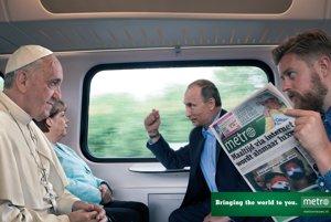 A pri politike ešte zostaneme: keď sa v jednom kupé stretne Merkelová, Putin a pápež František, alebo sympatický print denníka Metro.