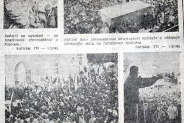 Davy ľudí. Ako ukazujú dobové snímky, popradské mítingy boli plné. Na snímke aj Kežmarok a Svit.