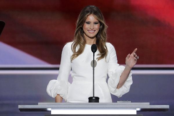 Melania Trumpová počas prejavu.