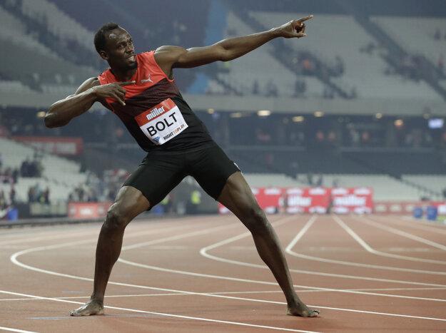 Víťazné gesto Usaina Bolta.