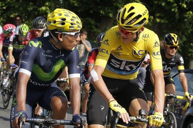 Nairo Quintana (vľavo) a Chris Froome počas poslednej etapy Tour.