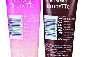 Šampón a kondicionér Blinding Brunette pre brunetky, ktoré potrebujú zvýrazniť a obnoviť lesk vlasov s výťažkami z heny a listov lieskového orieška, Lee Stafford, 11,80 €