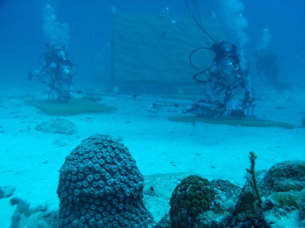 Aquanauti prekladajú materiál na dne mora. Simulujú tak prekladanie na asteroide.