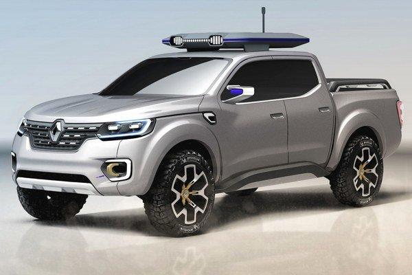Štúdia pikapu Renault Alaskan. Na pohon štúdie, odvodenej od pikapu Nissan najnovšej generácie, slúži 2,3-litrový turbodieselový motor výkonu 140 kW.