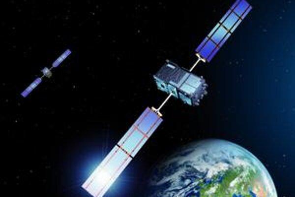 Kresba družíc Galileo. Európsky satelitný navigačný systém Galileo bude tvorený 30 družicami.