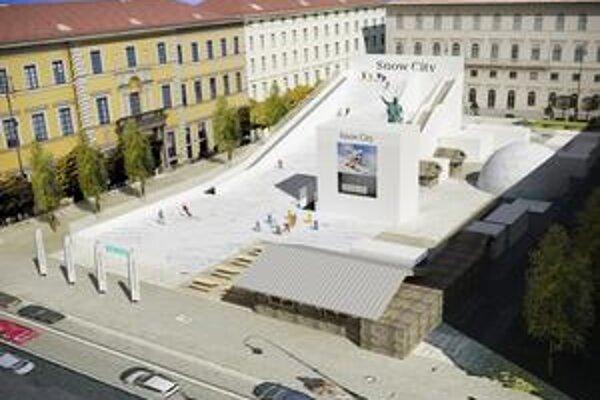 Snow City v Mníchove. Snežná rampa dĺžky 40 metrov je Mníchovčanom k dispozícii zadarmo.