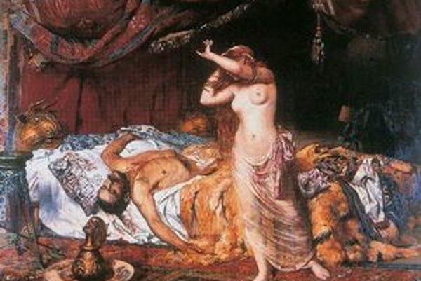 Výjav z tragickej svadobnej noci. Po nej ostala živá iba manželka Ildikó - veľký bojovník bol mŕtvy. Tento obraz je z Andrássyovskej obrazárne v Krásnohorskom Podhradí.