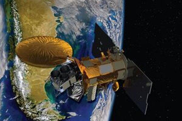 Kresba družice Aquarius. Družica Aquarius bude tri roky merať slanosť povrchovej vrstvy svetových morí a oceánov.