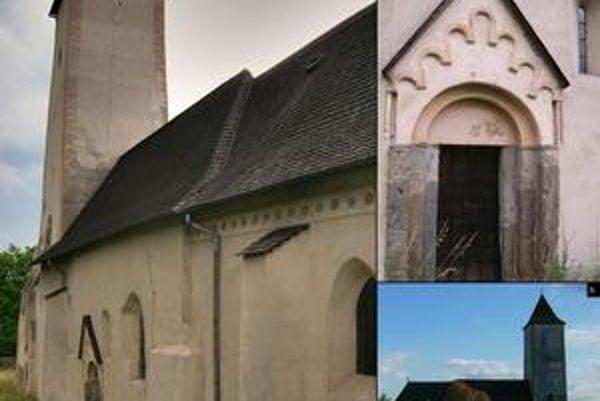 Kostol vo Svinici. 1. južná fasáda, 2. románsky portál a okno, 3. severný pohľad na objekt.