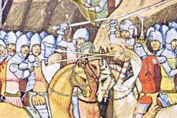 Bitka pri Košiciach. Kráľa Karola Róberta zachránili košickí ozbrojenci v Bitke pri Košiciach - podľa predstavy iluminátora kroniky zo 14. stor.
