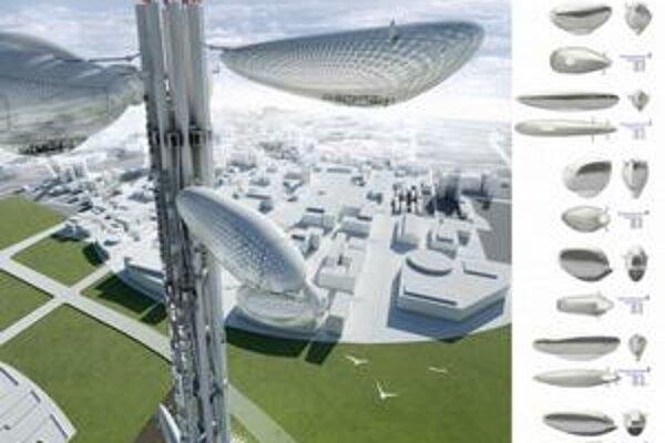Veža Plávajúce observatóriá. Unikátom sú vertikálne pohyblivé balóny s vyhliadkovými plošinami.
