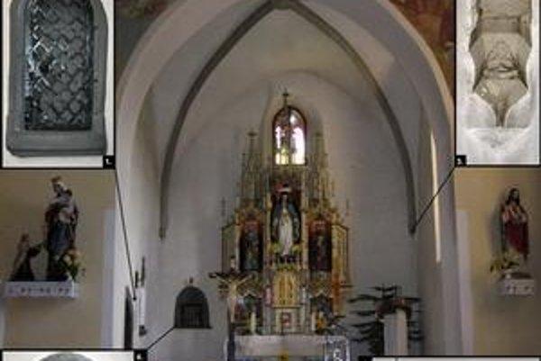 Kostol v Nižnom Slavkove. 1.neskorogotické pastofórium, 2. pohľad do svätyne, 3. konzola klenby, 4. ranogotické pastofórium, 5. kostol od JV.