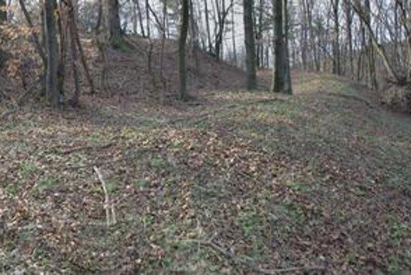 Lokalita pevnosti pri Chmeľove. Vrcholová plošina obkolesená priekopou a valom (pohľad z východu).