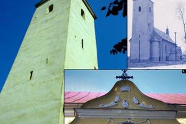1.pohľad na vežu od JZ2. kostol v r. 19643. zdobený štít predsiene