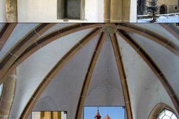 Kaplnka vo V. Šariši. 1. hlavice a výklenok južnej steny, 2. západné priečelie, 3. klenba, 4. detail hlavice severnej steny, 5. chrám od východu, 6. detail hlavice v závere svätyne.