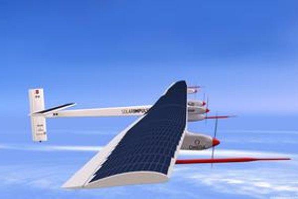 Kresba lietadla Solar Impulse. Solárne články pokrývajú hornú plochu krídiel a výškového kormidla.