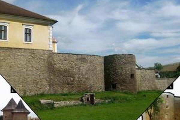 Podolínec - 1. hradby s hradným palácom od západu. 2. strážne veže hornej brány. 3. bašta pri kláštore piaristov.