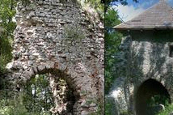 Hrad Muráň: 1. hlavný palác. 2. vstupná brána.